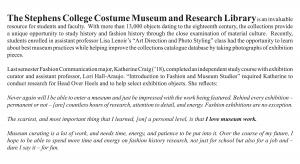 Head Over Heels: The Stephens College Costume Museum and Research Library