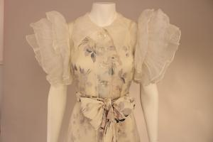 Closeup of 1930s gown inspired by Adrian's design for Letty Lynton, 2008.1627AB (photo: Allison Moorman)