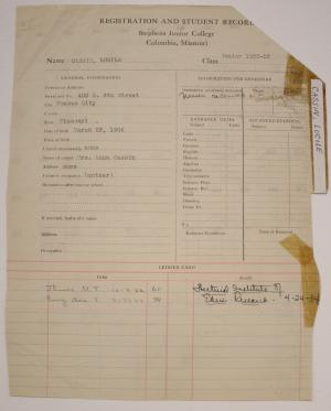 """Lucile """"Billie"""" Cassin's Stephens College transcript (courtesy of the Stephens College Library Archives)"""