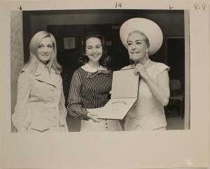Joan Crawford accepts award at Stephens, 1970 (photo courtesy of the Stephens College Library Archives, photographer unknown)