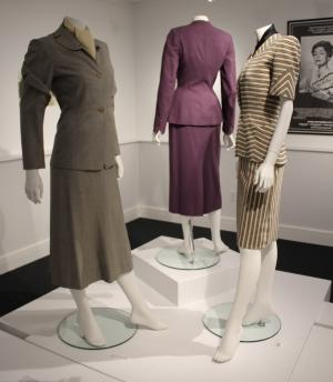 Two 1940s Adrian suits (foreground) and one Elsa Schiaparelli (photo: Katherine Craig)