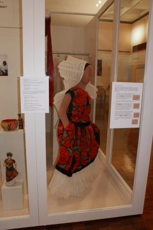 """A Dorfman mannequin was modified for the exhibit through padding and dyeing the """"skin"""" to more closely resemble indigenous flesh tones. Image courtesy of Mathers Museum of World Cultures, Indiana University"""